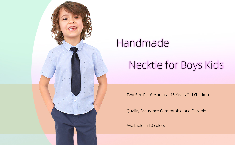 Elastic Neck Tie Smart Formal Weddings School Boys Kids Youth Necktie Ties