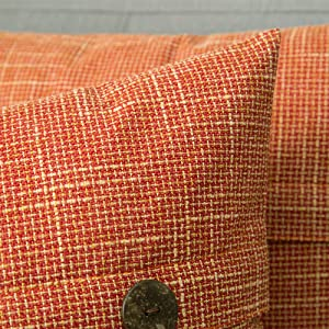 farmhouse linen burlap pillows burnt orange with vintage buttons fall decor