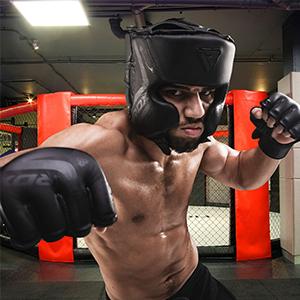 Ajustable Thai Kickboxing y Artes marcialesCasco para una Completa protecci/ón de la Cara Bout3 Protector de Cabeza para Entrenamiento de MMA Muay Boxeo