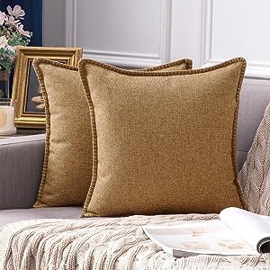 farmhouse linen pillow covers brown vintage retro rustic