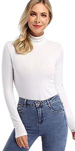 Women's Mock turtleneck Thermal Underwear Tops Lightweight Slim Active Shirt