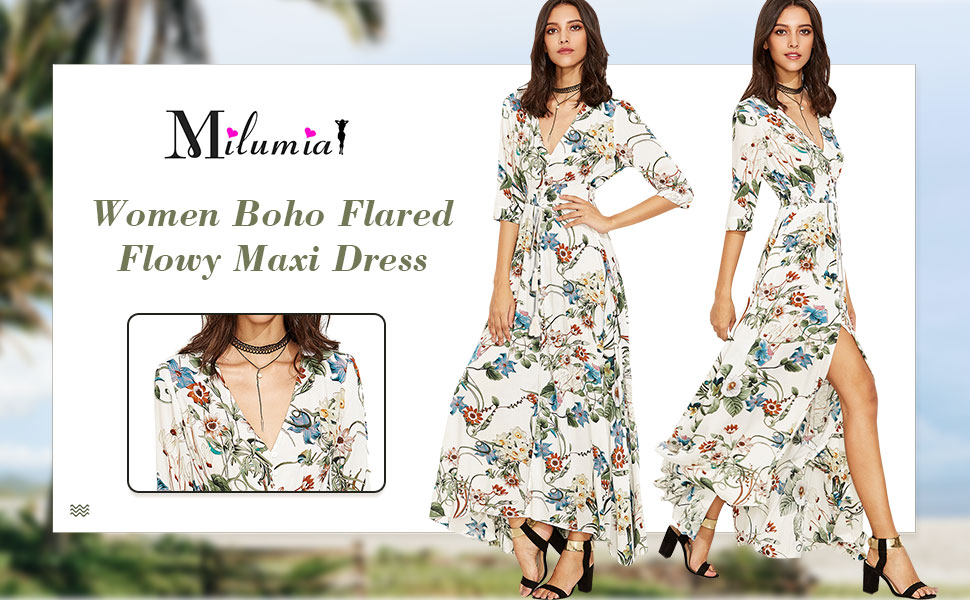 women boho casual floral flared flowy maxi dress split flower a line dresses