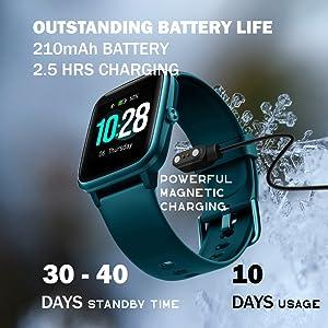Mcnnadi Smart Watch Fitness Tracker Health Monitor - 10 Days usage Green