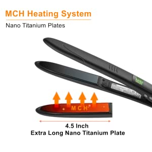 extra long nano titanium ceramic plate pro hair flat iron with 450F high heat