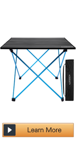 Portable Camping Table with Aluminum Table Top and Carrying Bag