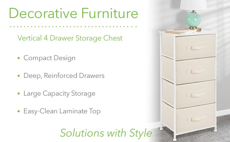 Decorative Furniture Vertical 4 Drawer Storage Chest