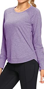 CUQY Long Sleeve Workout Shirts for Women Yoga Running Athletic Shirt Basic Workout Tops