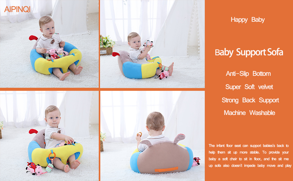 AIPINQI Baby Support Sofa Infant Sitting Chair Safe Baby Sofa Chair Comfortable Baby Sit Up Chair Back Head Protect Seat Learn to Sit Chair for Toddlers 3-24 Month Baby Floor Plush Lounger,Puppy