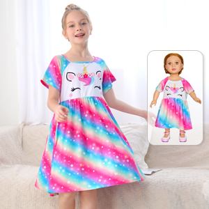 Colorful Purple 3-4T Play Tailor Doll and Girl Matching Nightgown Unicorn Outfit Night Dress for Girls and 18 Dolls