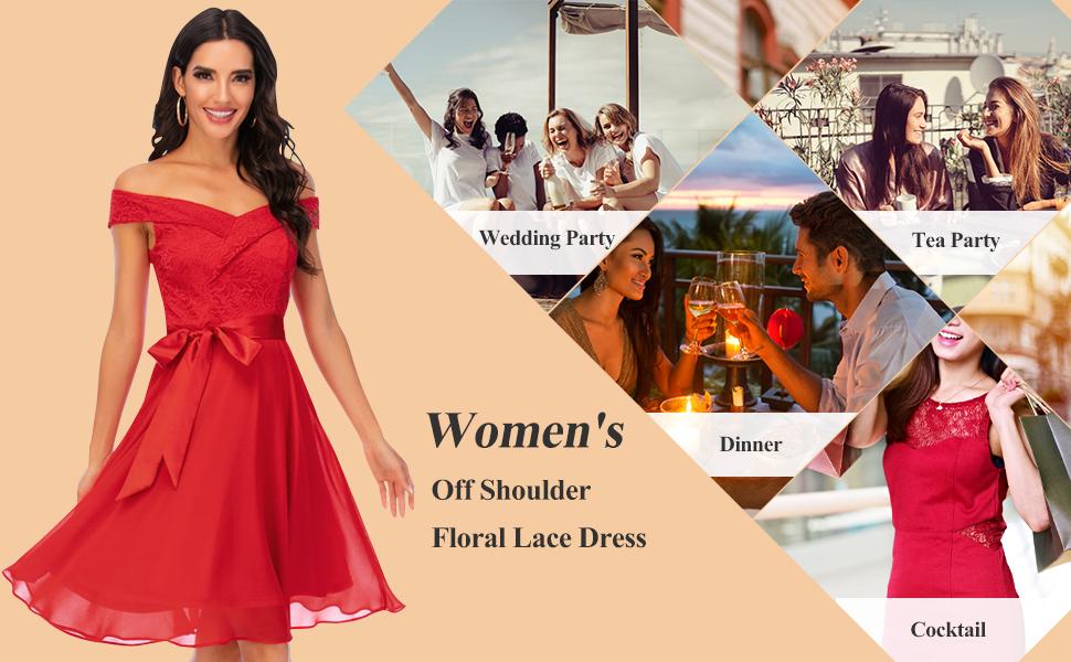 Bbonlinedress Womens Floral Lace Cocktail Dress Vintage Off Shoulder Chiffon Bridesmaid Swing Dresses
