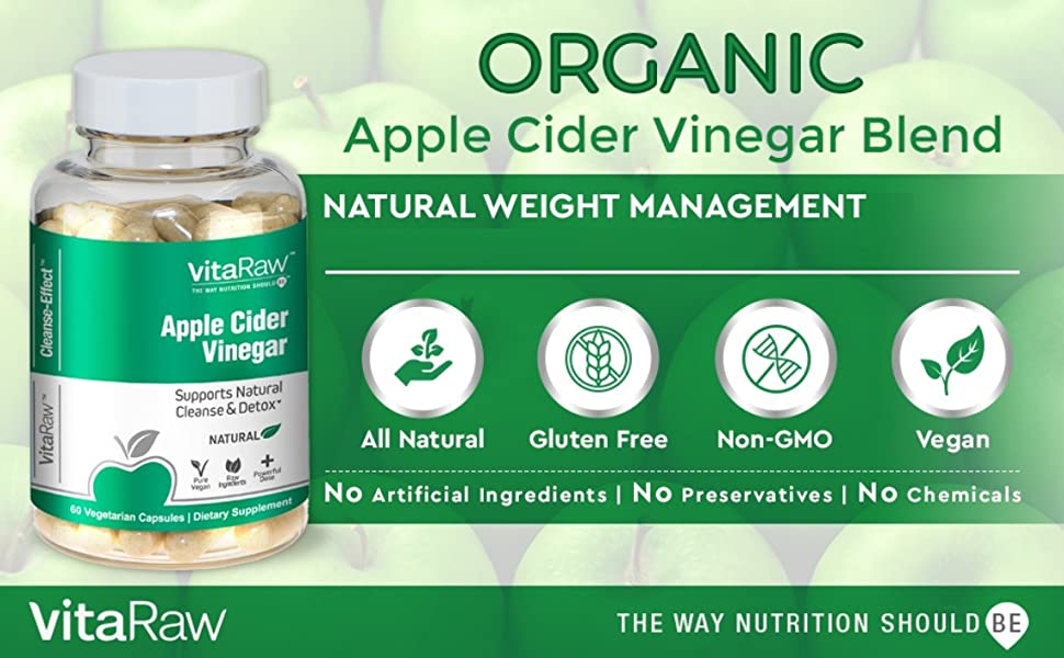 Organic Apple Cider Vinegar Capsules 100% Natural ACV Diet Pills, Weight Loss Appetite Suppressant