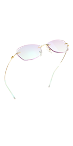 LifeArt Blue Light Blocking Glasses, Computer Reading, Rimless Frame Tinted Lens with diamond
