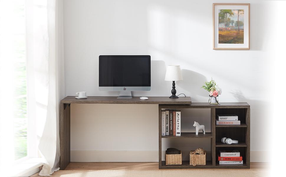 HSH L Shaped Computer Desk, Rustic Wood Corner Desk, Industrial Writing Workstation Table Cabinet