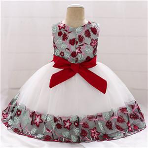wine red christmas baby girl flower dress