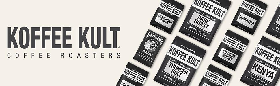 Koffee Kult Coffee Roasters Gourmet Locally Roasted Artisan 100% Arabica Beans Medium Roast