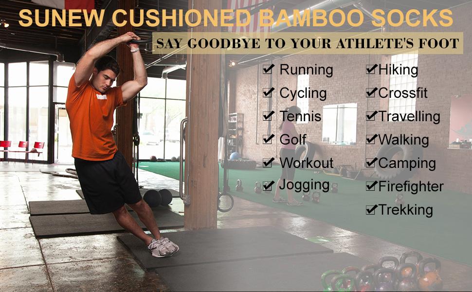 Bamboo Mens Womens Cushioned Sports Running Gym Fitness Socks