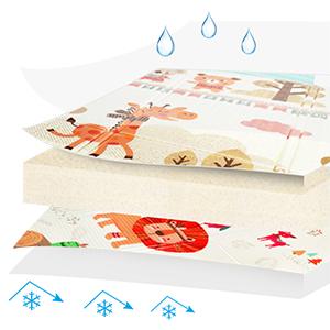 Folding Baby Play Mat Reversible Portable Foam Playmat Unisex Playroom & Nursery Mat
