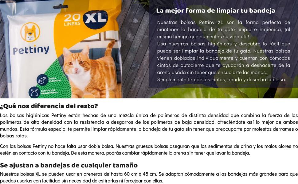 Pettiny 20 Bolsas Higiénicas XL para Bandejas de Gato Forros Resistentes con Asas para Areneros Extra Grandes