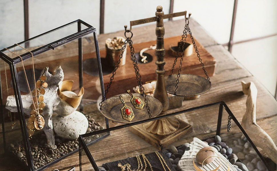 Vintage Style Metal Libra Jewelry Display Tray Cosmetic Organizer Storage