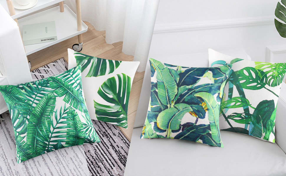 """Leaves 16/"""" Square Cushion Cover in a Swedish Design in Green and Ivory"""