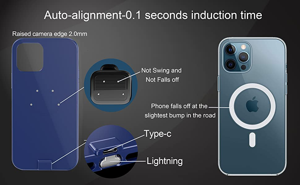 Magnetic Wireless Car Charger For iPhone 12/12Pro Case