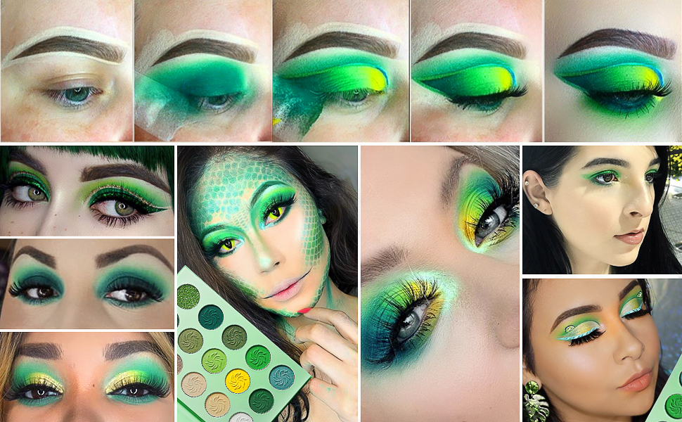 Afflano 15 colors eyeshadow palettes - 4 bright colour themes:      Avocado green