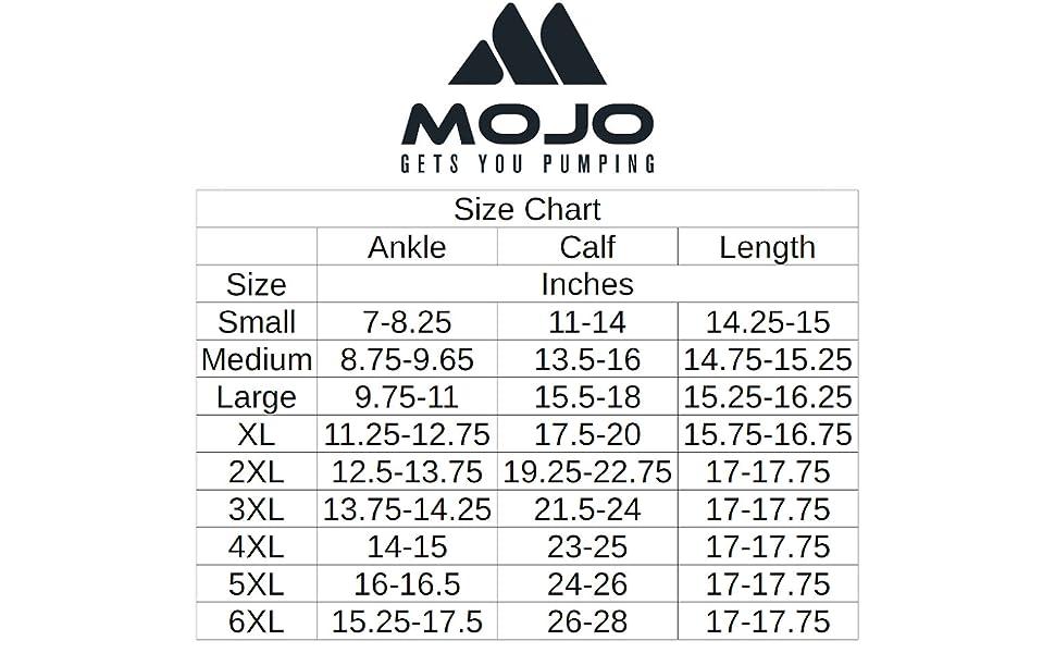mojo plus size compression socks size guide