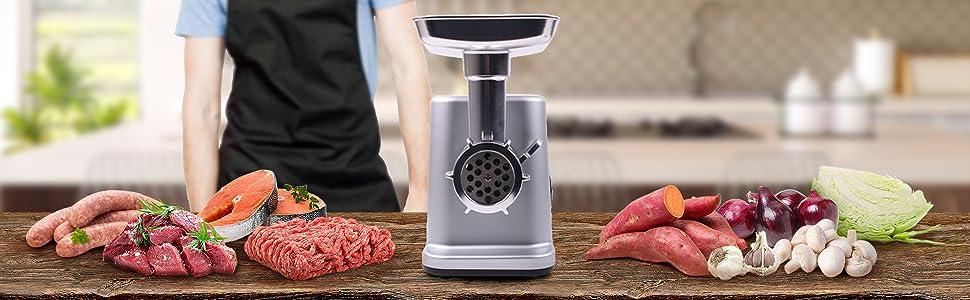 Duronic MG301 Picadora de Carne Eléctrica 3000W - Acero inoxidable - 3 placas de corte – Accesorios para preparar salchichas, albóndigas, carne picada, hamburguesas de carne o verduras: Amazon.es