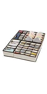 Cajas de Almacenaje de Tela Plegables para Calcetines Sostenes Divisores de Vestido SONGMICS Organizadores de Cajones Bufandas Ropa Interior Beige RDZ06M Corbatas Juego de 6