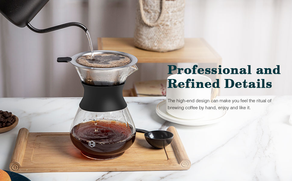 Clear Glass Teapot Hot and Iced Water perfect for Tea and Coffee 11x10.5cm Heat Resistant Elegant Carafe 400ml Pour Over Coffee Maker Juice and Beverage Borosilicate Glass Water Jug