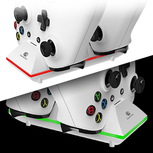 RED LED indicates batteries being charging;  GREEN LED indicates fully charged.