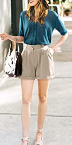 Women's Casual Elastic Waist Knee-Length Curling Bermuda Shorts with Drawstring
