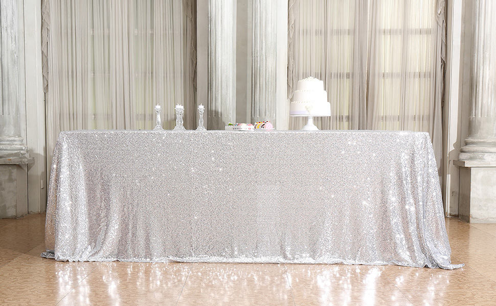 Choose Size Silver Rectangle Sequin Tablecloth for Party Wedding Table