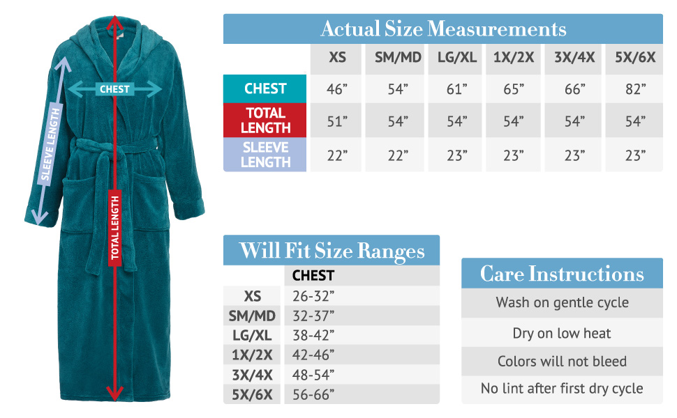 women size chart for robe