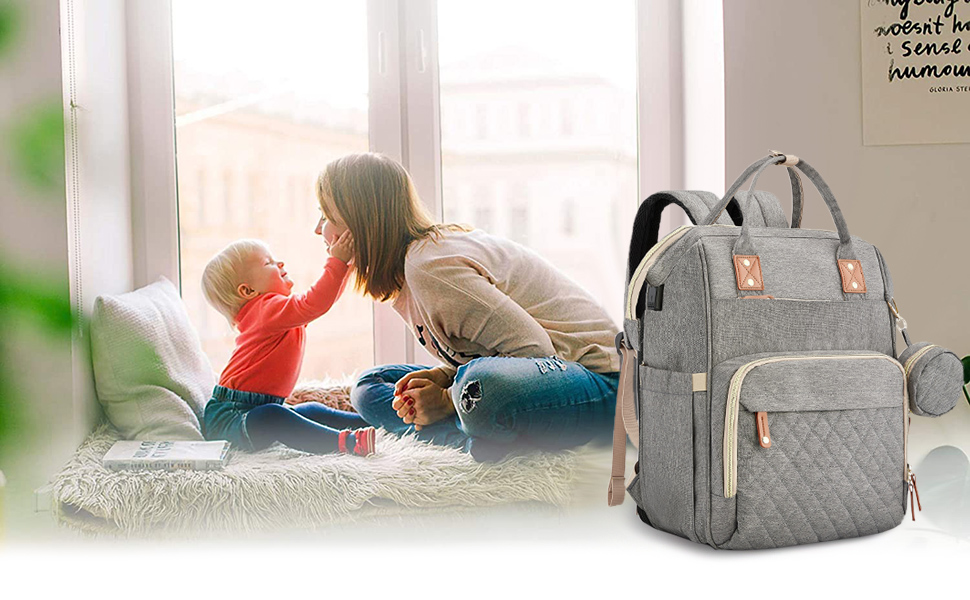 3 in 1 diaper bay backpack with bassinet baby girl bag backpack with changing diaper station
