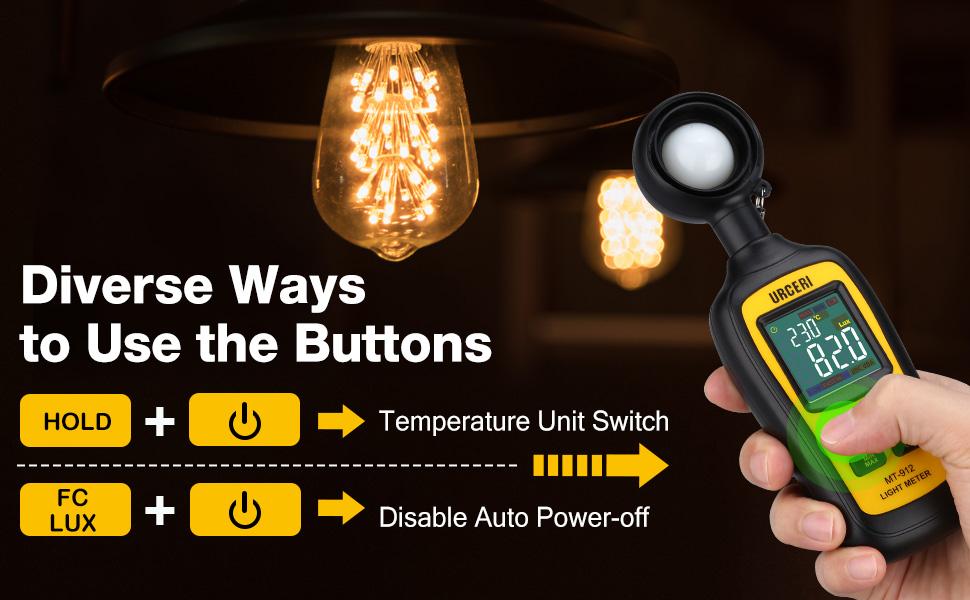 Urceri Portátil Digital Medidor de luz medidor de temperatura ambiente con rango de hasta 4