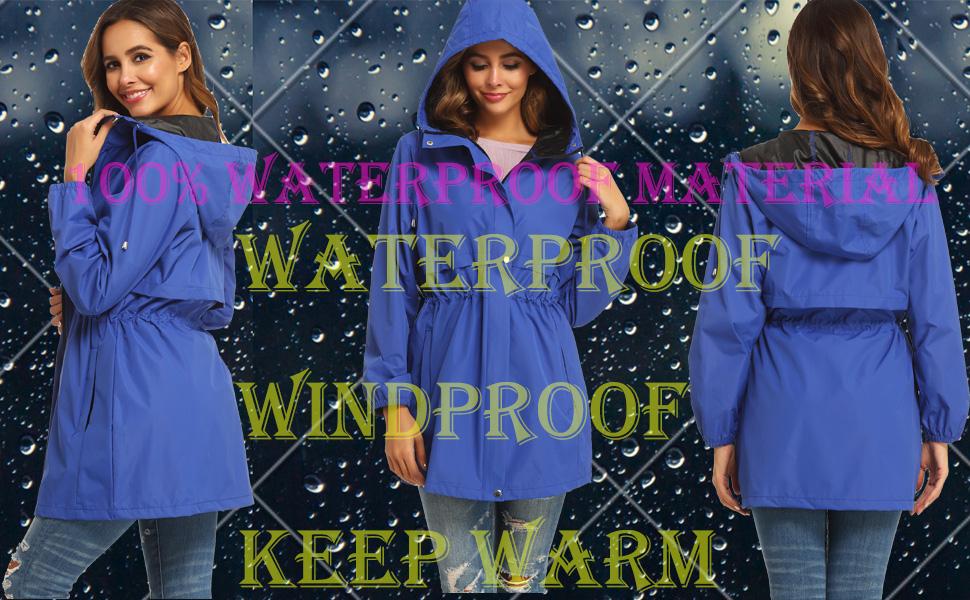 Women Waterproof Hooded Raincoat  Active Outdoor Windbreaker Trench Coat 1