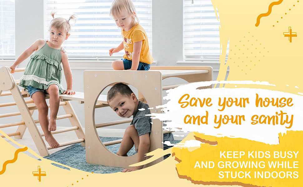 Tottlr Triangle and Ramp with rock holds keeps kids busy when stuck inside
