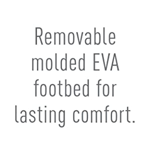 Removable molded EVA footbed for lasting comfort.