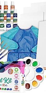 KEFF Acrylic Paint kit for Kids, 32 Piece Art Set, Washable Acrylic Paint