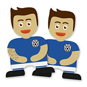 itenga Set Fu/ßballbande 6x Geschenkt/üten Papier Braun mit Griff Kordel inkl Gastgeschenk Mitbringsel Geburtstag Gastgeber Blau//Wei/ß Sticker Aufkleber