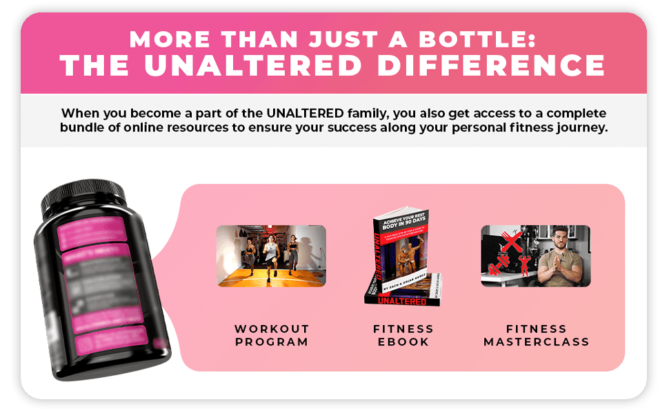 Included with Bottle: Fitness E-Book, Full Fitness Video Course, At-Home Workout Program