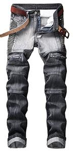 biker skinny jeans mens slim fit moto denim pants ripped distressed designer hip hop straight grey
