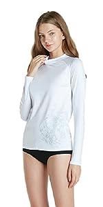 Swimwear long sleeve top UV protection UPF 50+ active rash guard for women