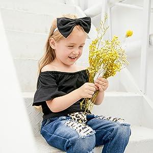 3-piece Baby Solid Flutter-sleeve Off Shoulder Top and Leopard Print Bowknot Nine-minute Jeans Set