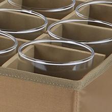 Configurable compartments holding kitchen glasses