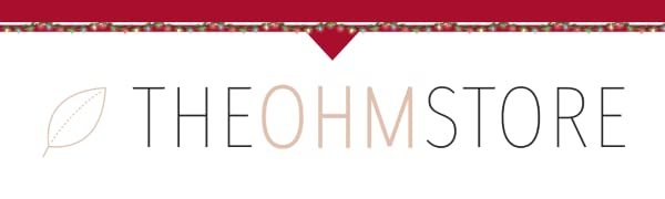 The Ohm Store Logo with string christmas lights and a red accented top border