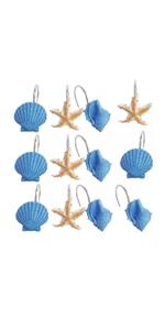 Seashell Anti Rust Decorative Resin Shower Curtain Rings Hooks for Bathroom Bedroom Baby Living Room