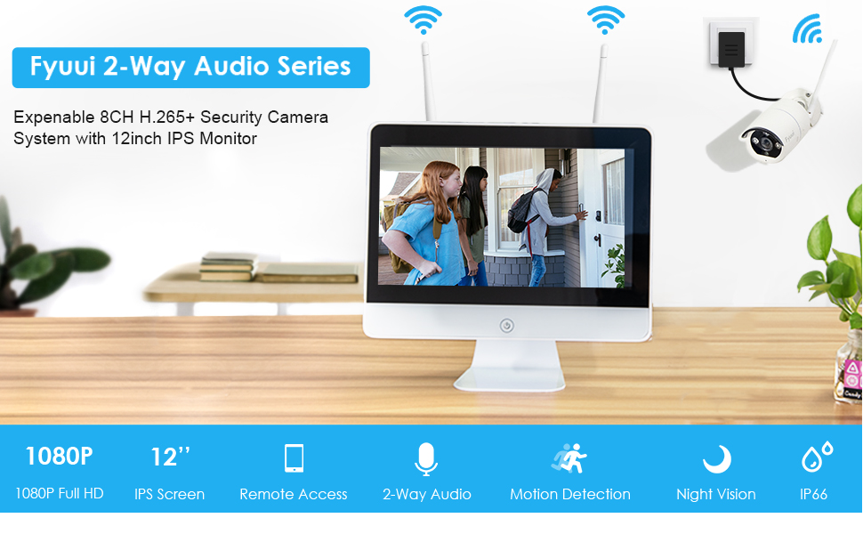 Fyuui Wireless security camera system with monitor
