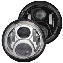 Eagle Lights 8700G2 7 inch Round Generation 2 LED Headlight for Harley Davidson Black with 2014 and newer Adapter Wire